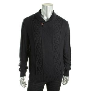 Nautica Mens Navy Cable Knit Long Sleeve Pullover